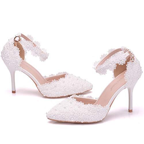 Wawer Damen Mode Brautschuhe Geschlossene Zehen Chunky Heel Spitze Satin Pumps Hochzeitsschuhe