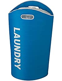 Honey-Can-Do HMP-03544 Laundry Bin Tote With Drawstring And Handles, 23 By 14 By 26.8-Inch, Blue