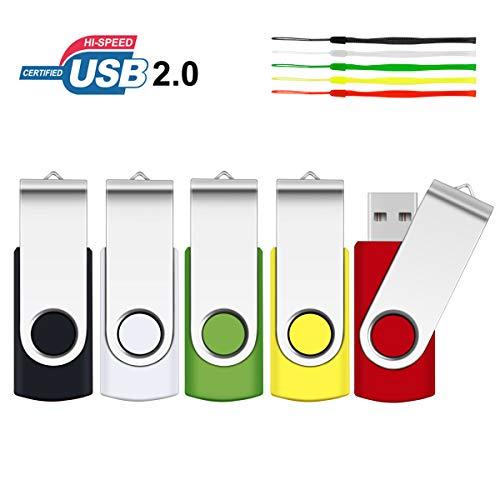 8GB USB Stick, SRVR 5 Stück Speicherstick USB-Flash-Laufwerk Mehrfarbig Memory Stick Datenspeicher USB 2.0 mit Kappe LED Anzeige Schlüsselband