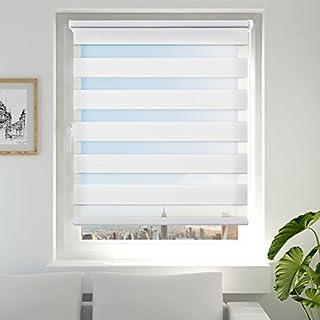 Achollo Double Store Enrouleur Jour Nuit pour Fenêtre & Porte – Montage Facile sans Perçage - Blanc 45 x 150 cm