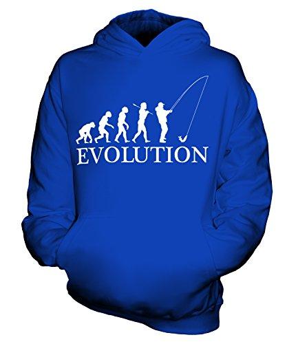 CandyMix Angeln Fischfang Evolution Des Menschen Unisex Kinder Jungen/Mädchen Kapuzenpullover, Größe 3-4 Jahre, Farbe Königsblau
