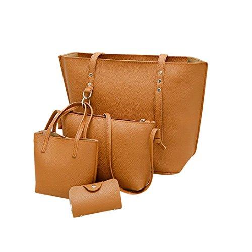 VJGOAL Damen Schultertasche, 4Pcs Frauen Mädchen Mode Muster Leder Schultertasche + Umhängetasche + Handtasche + Brieftasche Geschenke (38 * 13 * 29cm, Braun)