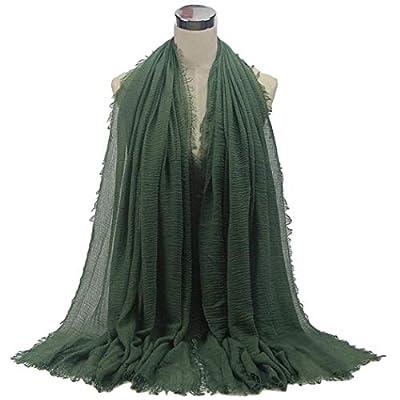 beyove 24 Colors Casual Solid Soft Lightweight Cotton Hemp Scarf Pashmina for Women Lady,180 x 60cm