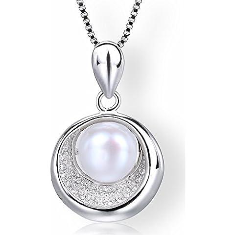 Startreasureland Collana con ciondolo in argento Sterling 925, 7 mm, con perla d'acqua dolce bianche coltivate in una torta