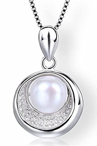 Startreasureland 925 Sterling Silver Pendant Necklace 7mm White Freshwater Cultured Pearl in a Cake