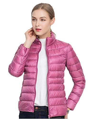 Sytiz New Winter Down Coat Women Warm Chic Parkas Solid Stand 90% White Duck Long Sleeve Jackets Light Slim Autumn Peach XXXL (Rain Coat Rack)
