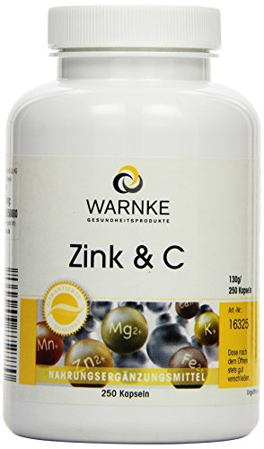 Warnke Gesundheitsprodukte Zink und C, 300 mg Vitamin C plus 5 mg Zink, 250 Kapseln, Großpackung, vegi, 1er Pack (1 x 130 g) - Pro-vitamin Zink Vitamine