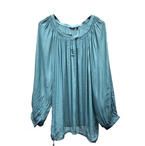 Gothic Rockabilly Bluse, Blue Boho Bauer Pirat Gypsy Bluse Top Gr. 48, blaugrün - Boho Gypsy Bauern Top