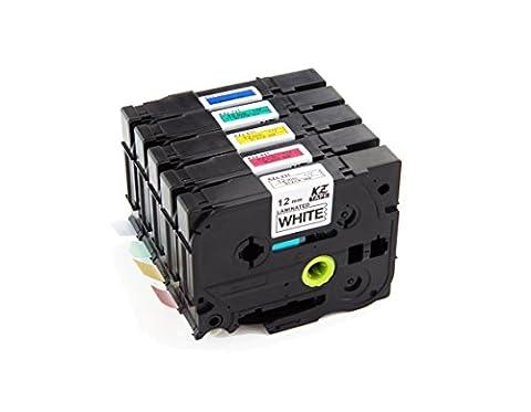 yenlok 5 Rubans étiquette Cassettes Compatible pour Brother Tze-231/Tze-431/Tze-531/Tze-631/Tze-731 12mm X 8m pour Brother P-Touch 1000W 1010 1090 1830VP 2030VP 2100VP 2430PC 2470 2730VP 7100 VP7600VP H100R H300 D200VP et Noir sur blanc/rouge/ bleu/jaune/vert 2 ans de garantie