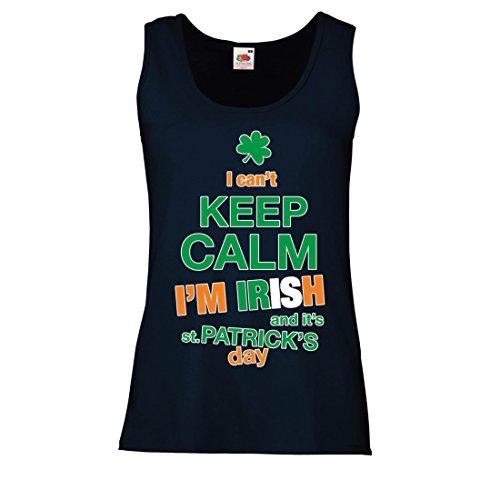 lepni.me Damen Tank-Top Ich Kann Nicht Ruhig Bleiben - Ich Bin Iren - St. Paddy Tag Kleidung (Small Blau Mehrfarben) (Holz-camo-t-shirt)