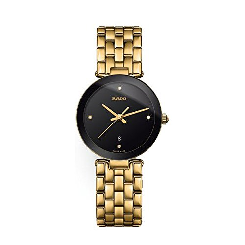 RADO WOMEN'S GOLD PLATED BRACELET & CASE QUARTZ BLACK DIAL WATCH R48871714