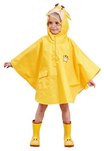 Chubasquero amarillo infantil tipo poncho para niña