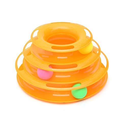 Ballylelly-Lustige Hund Katze Spielzeug Original Design Vergnügung DREI Turm Von Tracks Pet Vergnügungsplatte Ball Disk Interaktives Spielzeug (orange)