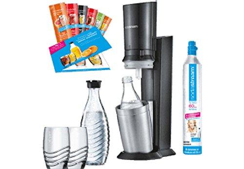 Produktbild SodaStream Crystal 2.0 Promopack Glaskaraffen Wassersprudler zum Sprudeln von Leitungswasser,  inkl. 1 Zylinder, 2 Glaskaraffen 0,6l (spülmaschinenfest), 2 Trinkgläsern und 6 Sirupproben; Farbe: Titan