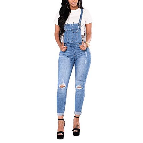 fe38ecbb5b7cee Bmeigo Damen Latzhosen Jeans - Lang Denim Overall Jeanshosen Skinny Blau  Jumpsuit Slim Fit Playsuit (Blau- B, XXL(Taille 34-35