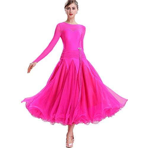 Kostüm Performance Tanz Lyrische - MoLi Klassisch Einfach Frauen Ballsaal-Tanzkleid Damen National Standard Tanzwettbewerb Kleid Lyrisch Walzer Tango Performance Kostüm Big Swing Tüllrock,Rose,XXXL