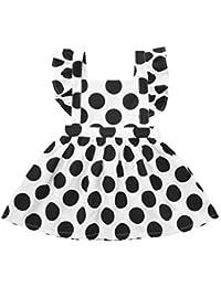 Vestido Peto para Bebe Niña Fiesta Bautiz Primavera Verano 2019,PAOLIAN Conjunto Bebé Niña 6 Meses-3 años Manga Cortas Vestido Princesa Nina Mono Recién Nacidos Estampado Lunares Blanco