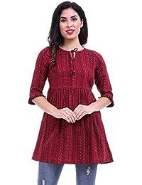 ROZVEH Women's Maroon Print Ruffle Hem Tunic top