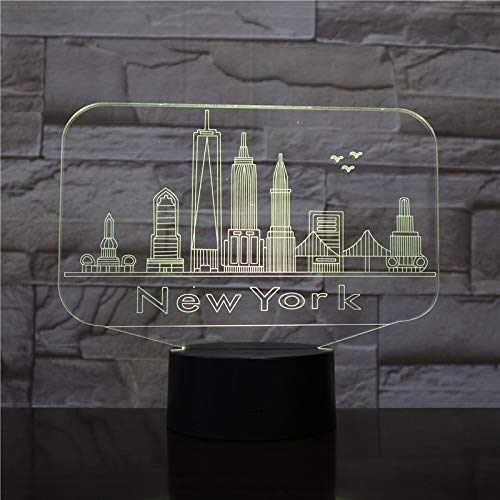 t Stadt New York Atmosphäre Lampe Dekoration RGB Kinder Baby Geschenk Berühmte Gebäude Tischlampe Nacht neon A-1886 ()