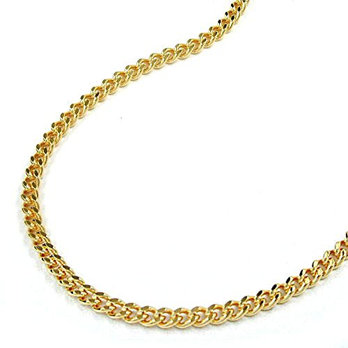 Unbespielt Modeschmuck Halskette Kette Panzerkette Kette 2 x diamantiert Collier Damen vergoldet Länge 50 cm 2 mm (Diamant-halskette 1 2 Karat)