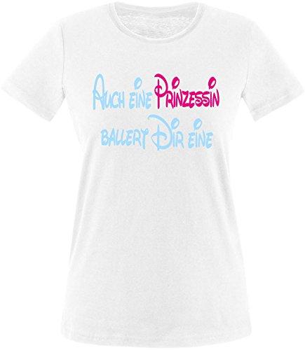 Luckja Auch eine Prinzessin ballert dir eine Damen Rundhals T-Shirt (Bonnie Und Clyde Kostüme Für Kinder)