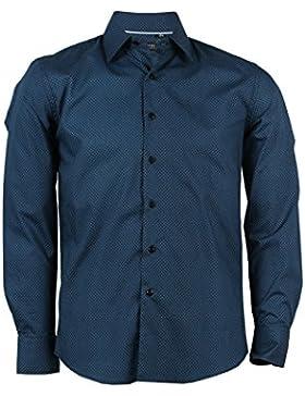 Camicia microfantasia geometrica blu e nera