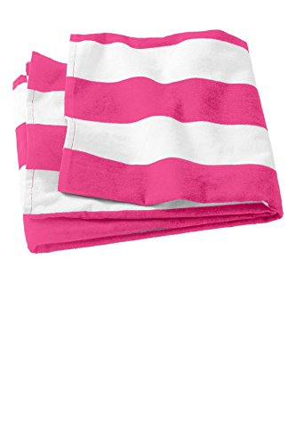 Port & Company? PT43Cabana Stripe Beach Handtuch, OSFA, Marineblau, Tropical pink, US OSFA (Cabana Beach Handtuch)