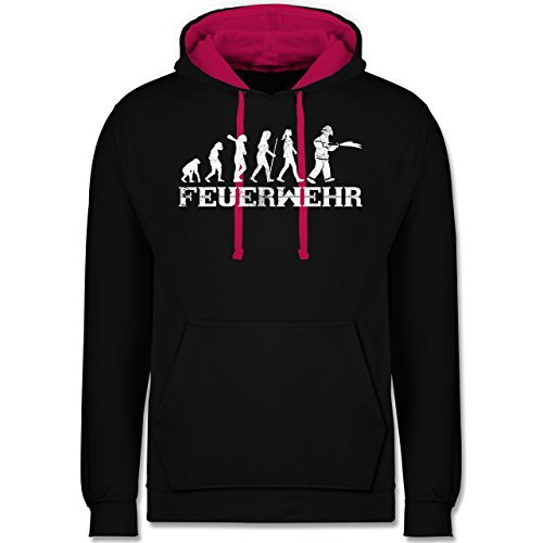 Shirtracer Feuerwehr - Evolution Feuerwehr Frau Vintage - XXL - Schwarz/Fuchsia - JH003 - Kontrast Hoodie