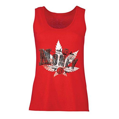 Camisetas Sin Mangas Para Mujer Sin Dinero Sin Diversión - Hoja de Cannabis - Fumar Hierba - Citas conjuntas - Lema de Marihuana (Medium Rojo Multicolor)