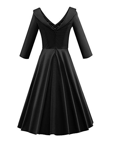 LaoZan Femmes Robe vintage manches 3/4 Peter Pan Collar Rétro Robe soirée Rockabilly Swing Eté Noir