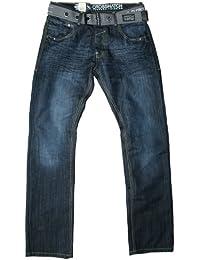 Crosshatch Men's Wak New Straight Leg Dark Wash Belt Jeans