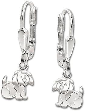 CLEVER SCHMUCK Silberne Ohrhänger 22 mm Hund 7 mm flach, matt und glänzend STERLING SILBER 925
