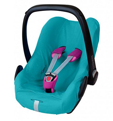 ByBoom® - Universal Sommerbezug, Schonbezug aus 100% Baumwolle, für Babyschale, Autositz, z.B. Maxi Cosi CabrioFix, City, Pebble; Designed in Germany, MADE IN EU, Farbe:Aqua
