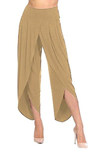 YACUN Femmes L'ensemble Des Pantalons Faux Wrap Tranché La Jambe Occasionnels Pantalons purple