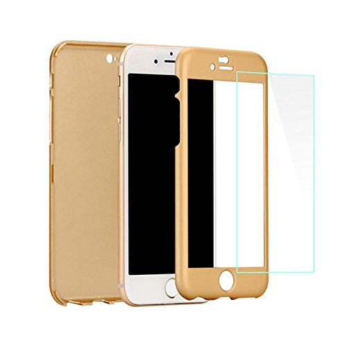 Blufox* iPhone 5/5S/SE Hülle Schutzhülle, iPhone 5 360 Grad Hülle + Panzerglas,Tempered Glass [ 360 Grad Rundum ] GOLD fuer Apple] iPhone 5/5s/5c/SE Komplett Hülle, Bumper iPhone 5 Case, iPhone 5 Cover (Gold 5c Screen Protector)