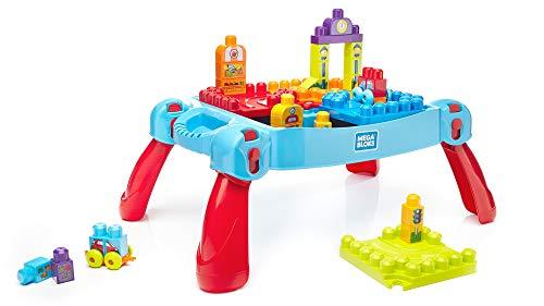 Mega Bloks La Table d'Apprentissage bleue avec blocs de construction et 2 véhicules, 30 pièces,...