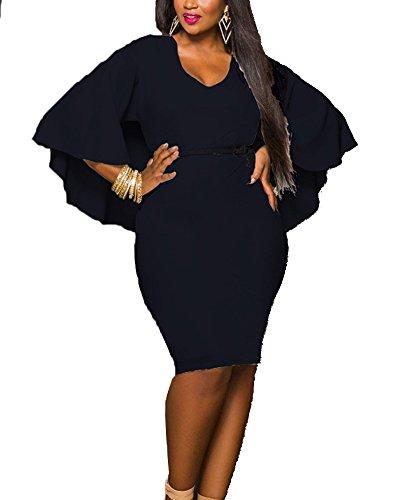 Donna taglie forti vestito aderente tubino abito da cerimonia corti nero l