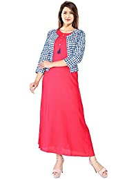 Saubhagyawati Fashions Womens Inner(Rayon Cut Sleeve) With Jacket(Cotton 3/4 Sleeve) Red & Multi Color Round Neck...