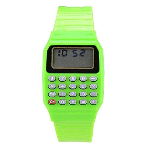 Jungen Mädchen Silikon Datumsanzeige elektronische Uhr Mulitfunktions Rechner Uhr Taschenrechner Uhr für Kinder Grün
