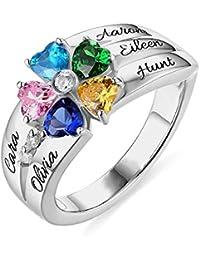 d9f441a3d600 Grancey Anillo Personalizado con Nombres y 5 Piedras natales en Forma de  corazón en Plata de