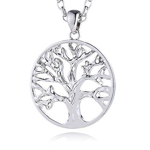Morella Damen Edelstahl Halskette 70 cm mit Lebensbaum Anhänger Glücksbringer 34 mm und Samtbeutel