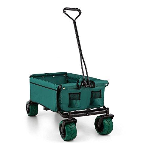 Waldbeck The Green carrello a mano (10 kg, pieghevole, struttura robusta, fondo rinforzato, ruote spesse 10 cm, fodera di poliestere resistente alle intemperie, salvaspazio, tasche esterne) - verde