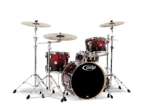 Pacific Drums PDCM2014RB Drumset 4-teilig mit Chrombeschlägen, Rot bis Schwarz