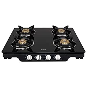 Elica Glass 4 Burner Auto Ignition Gas Stove (Patio ICT 460 BLK AI S)