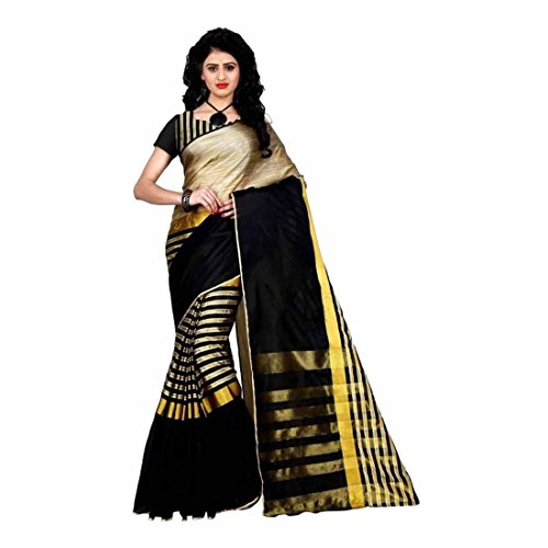 Striped Fashion Tussar Silk, Cotton Linen Blend Saree (Black)