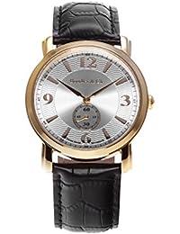 Boudier & Cie BSSM202 - Reloj de Cuarzo Analogico con movimiento Suizo para hombre, Esfera plateada, Carcasa dorada, Correa de Cuero negro