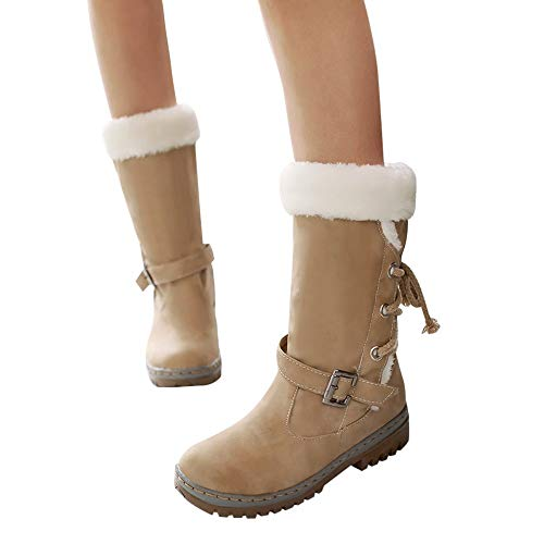 MYMYG Warmer Stiefel Schneestiefel Boots Flache Booties Schnalle Lace Up Schuhe Schnür Stiefel Runde Zehe Schuhe Winterstiefel Einfarbig Warme Lederstiefel Winter Schnürstiefel Boots Schnürschuhe