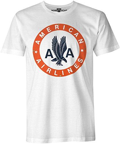 More T Vicar American Airlines - Herren Retro Verkehrsflugzeug Logo T Shirt - Fluggesellschaften, Weißes T-shirt