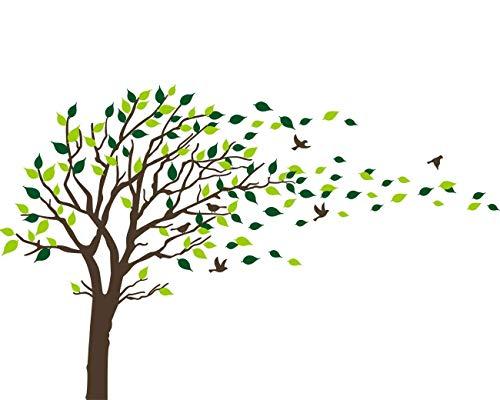 Bdecoll Familie Wand Aufkleber mit Schwarz Und Grün, bleibt Sechs Flying Birds Vinyl Wand Aufkleber für Babys Kids Kinder Schlafzimmer Dekoration (Black) (Familie Baum-wand-aufkleber)