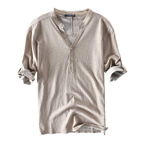 LSAltd Sommer-Mann-populäre beiläufige Normallack-Knopf-V-Ansatz halbe Hülsen-Bequeme Baumwollt-Shirt Blusen-Oberseiten